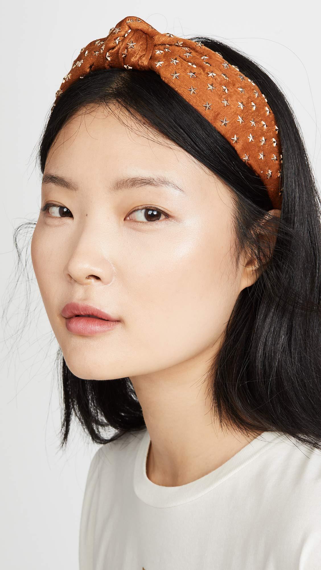 Lele Sadoughi Women's Star Studded Silk Knotted Headband, Copper, Metallic, Bronze, Orange, One Size by Lele Sadoughi (Image #3)