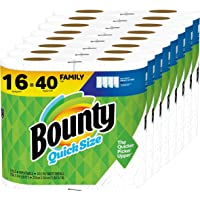 Bounty Quick-Size Paper Towels, White, 16 Family Rolls = 40 Regular Rolls