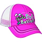 Outdoor Cap Adjustable Closure Toddler Girls Fish Better Cap, Fuchsia/White