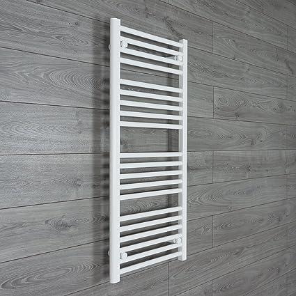 400mm ancho x 1100mm alto Prellenada Calefacción Eléctrica Toallero Radiador Plano Baño Blanco Calentador Estantería calefacción
