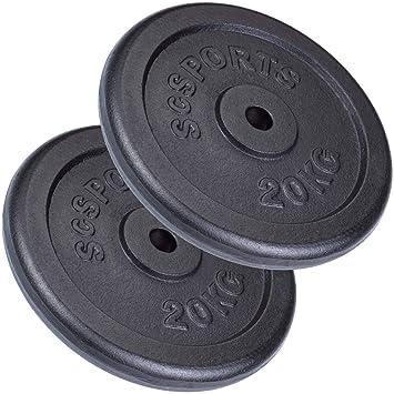ScSPORTS - Juego de Pesas (40 kg Hierro Fundido 2 x 20 kg Pesas Orificio de 30/31 mm): ScSPORTS: Amazon.es: Deportes y aire libre