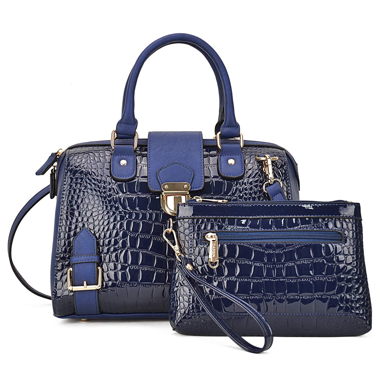 Crocobluee Handbags for Women Top Handle Shoulder Bags Satchel Tote 2 Pcs Purse Wallet Set Boston Bags