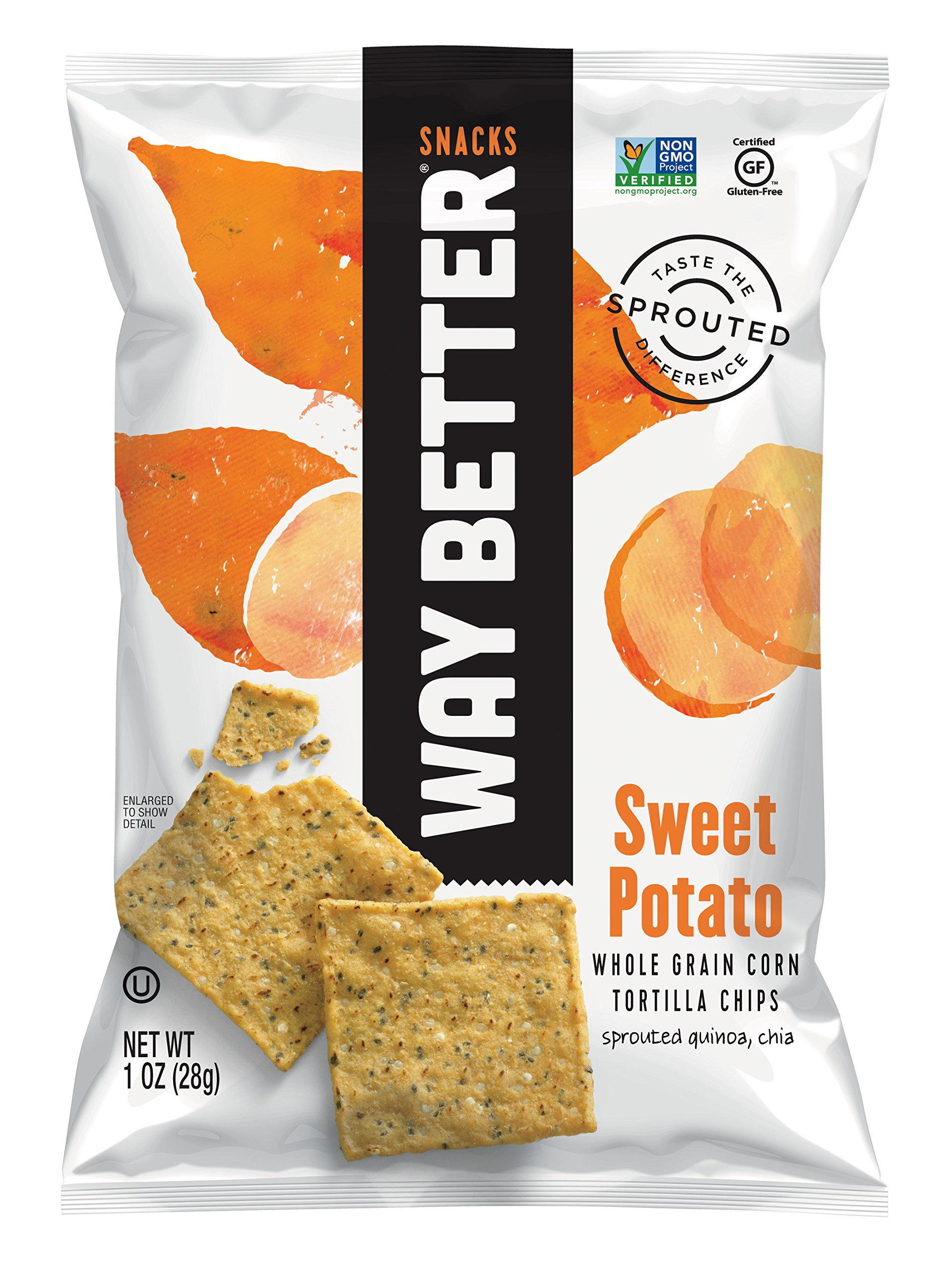 Way Better Snacks Sprouted Gluten Free Tortilla Chips, Simply Sweet Potato, 1 Ounce (Pack of 12)