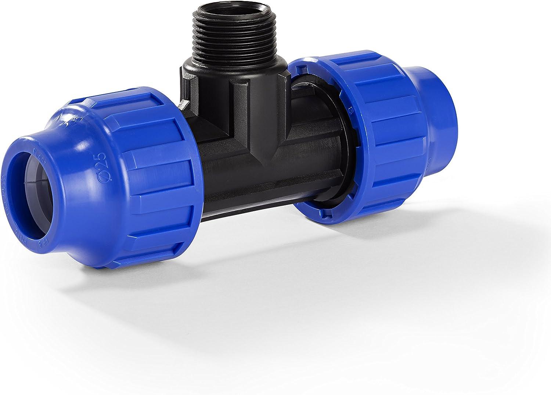 DVGW Klemmverbinder 25er T-St/ück mit 3//4 Aussengewinde f/ür PE-Rohr H2O-Flex PP-Fitting 25 mm