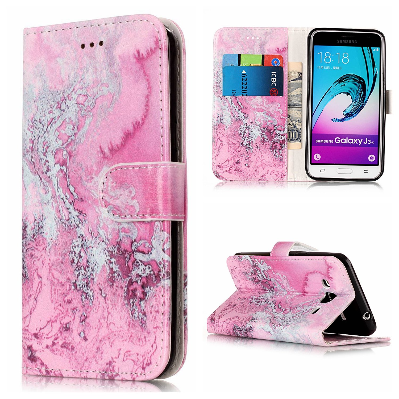 J3 Case, J3 V Case, Express Prime Case, Amp Prime Case, Galaxy Sol Case, Galaxy Sky Case, Ranyi [Marble Design Wallet] [Card Slot] [Kickstand Feature] Flip Leather Wallet Case Cover (pink ocean)