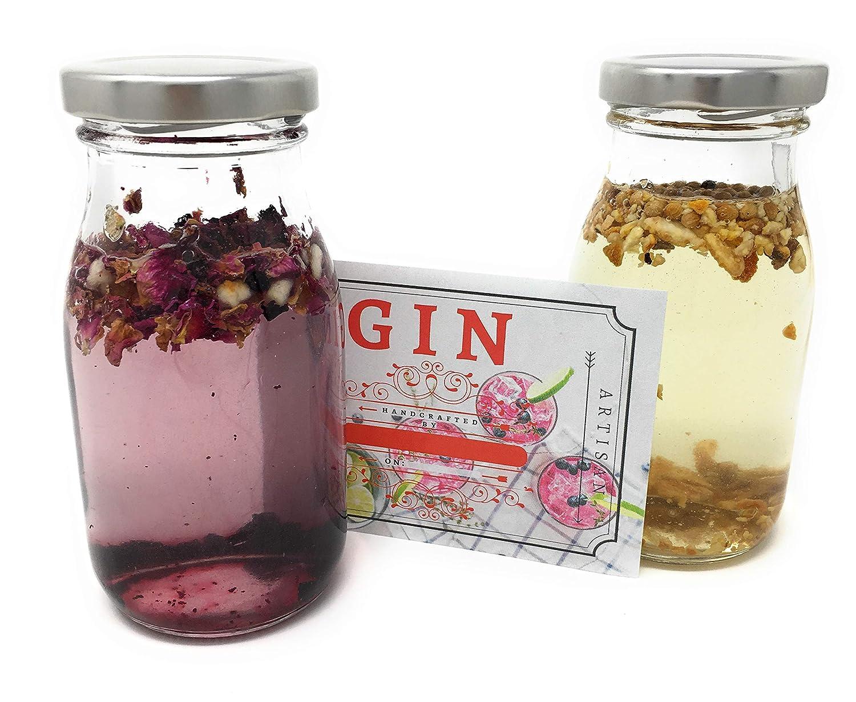 Real Homemade Kit de fabricación de ginebra, kit de regalo de 26 piezas con botellas de cristal, Hipflask, embudo, 6 mezclas botánicas reales y mucho más.