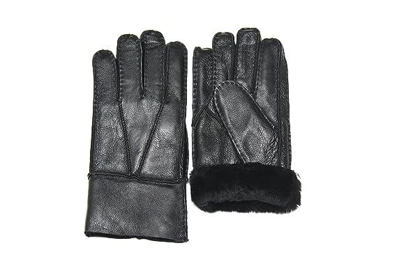 Angebot preisreduziert klare Textur Lammfell Handschuhe Lammfell Finger Handschuhe schwarz mit schwarzen Fell,  Damen und Herren, Größenbeschreibung siehe Produktbeschreibung