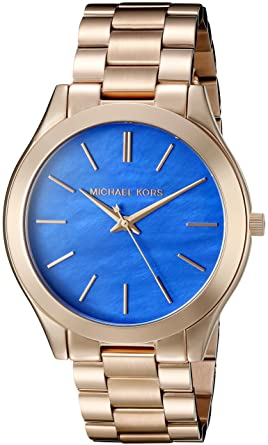 f38f4d3367d5 Amazon.com  Michael Kors Women s Slim Runway Rose Gold Watch MK3494 ...
