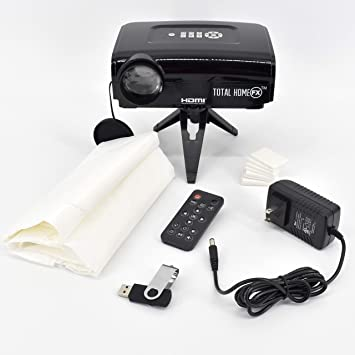 Total HomeFX 800 Series Projector Kit with Pre-Loaded Seasonal and Holiday Videos, Remote Control, Tripod, Projection Screen, and HDMI Capable
