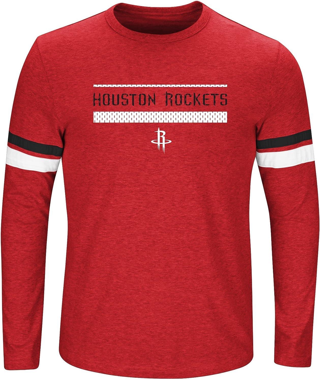 5X NBA Houston Rockets Long Sleeve Screen Print Tee Red Heather//Black