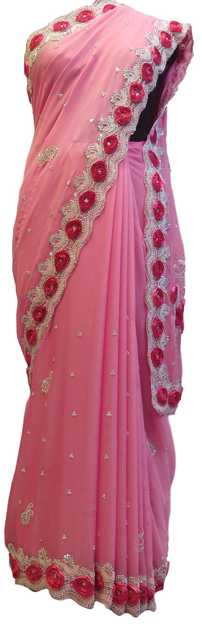 SMSAREE Pink Designer Bridal PartyWear Georgette Thread Beads Stone Work Wedding Cutdwork Border Saree Sari E009
