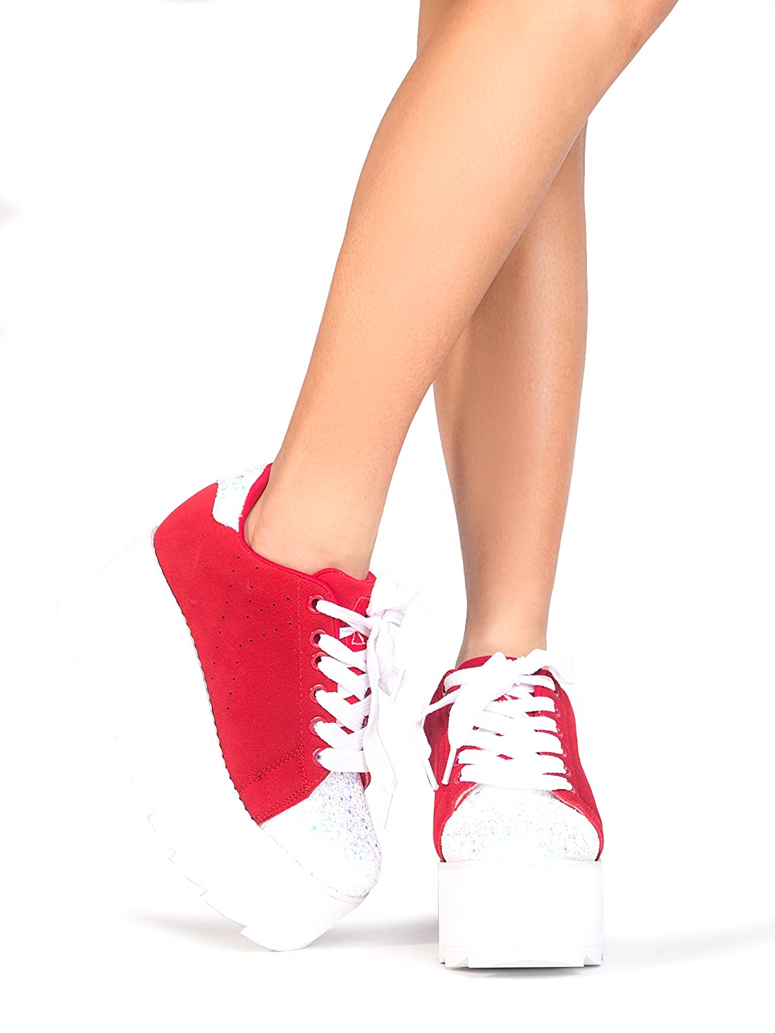 YRU Lala Casual Platform Sneaker - High Rave Flatform Closed Round Toe Creepers B07BFL265T 9 M US|Red Suede