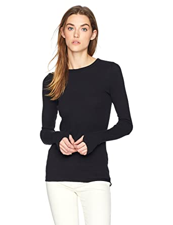 7edab7f5 Enza Costa Women's Cashmere Thermal Long Sleeve Cuffed Crew Top with  Thumbholes