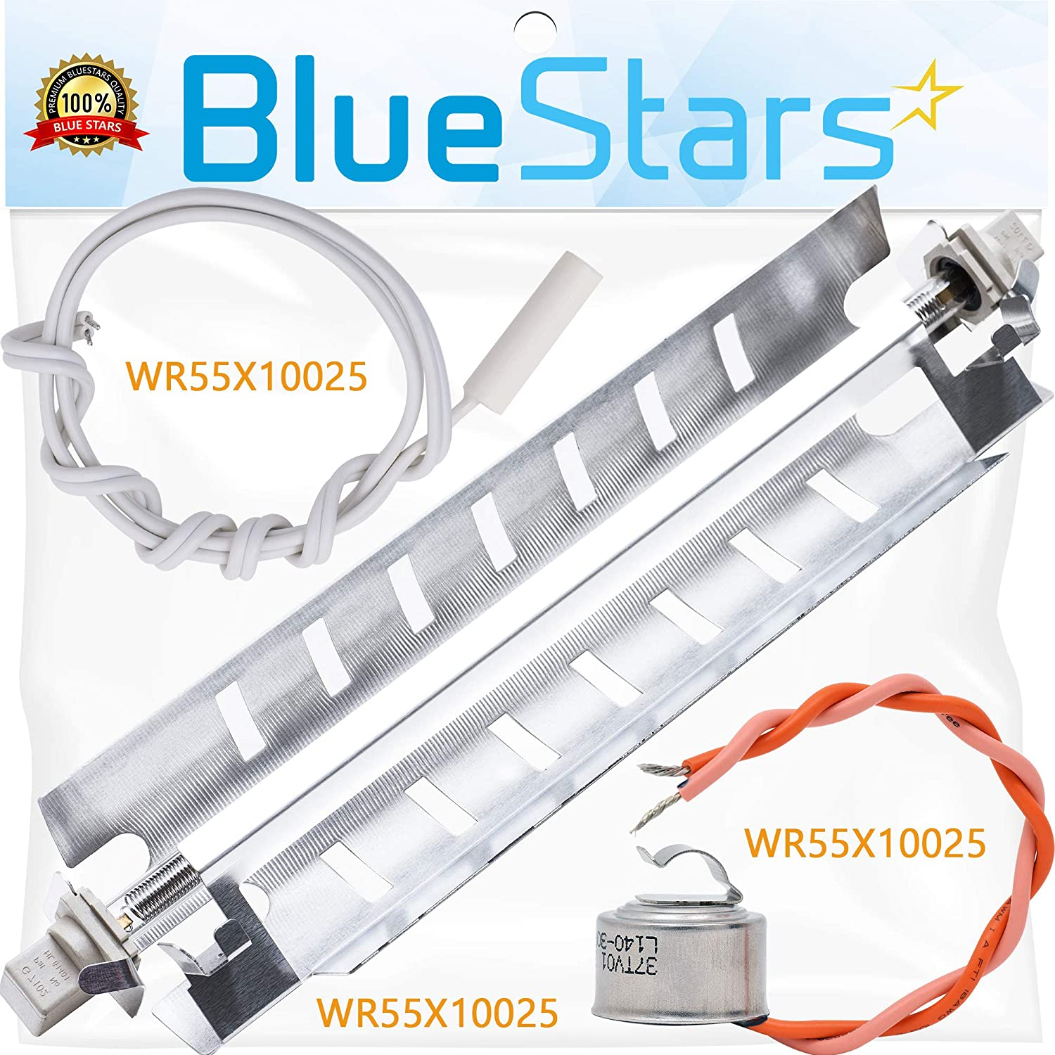 WR51X10055 Refrigerator Defrost Heater, WR55X10025 Temperature Sensor and WR50X10068 Defrost Thermostat Replacement by Blue Stars - Exact Fit for GE Refrigerators