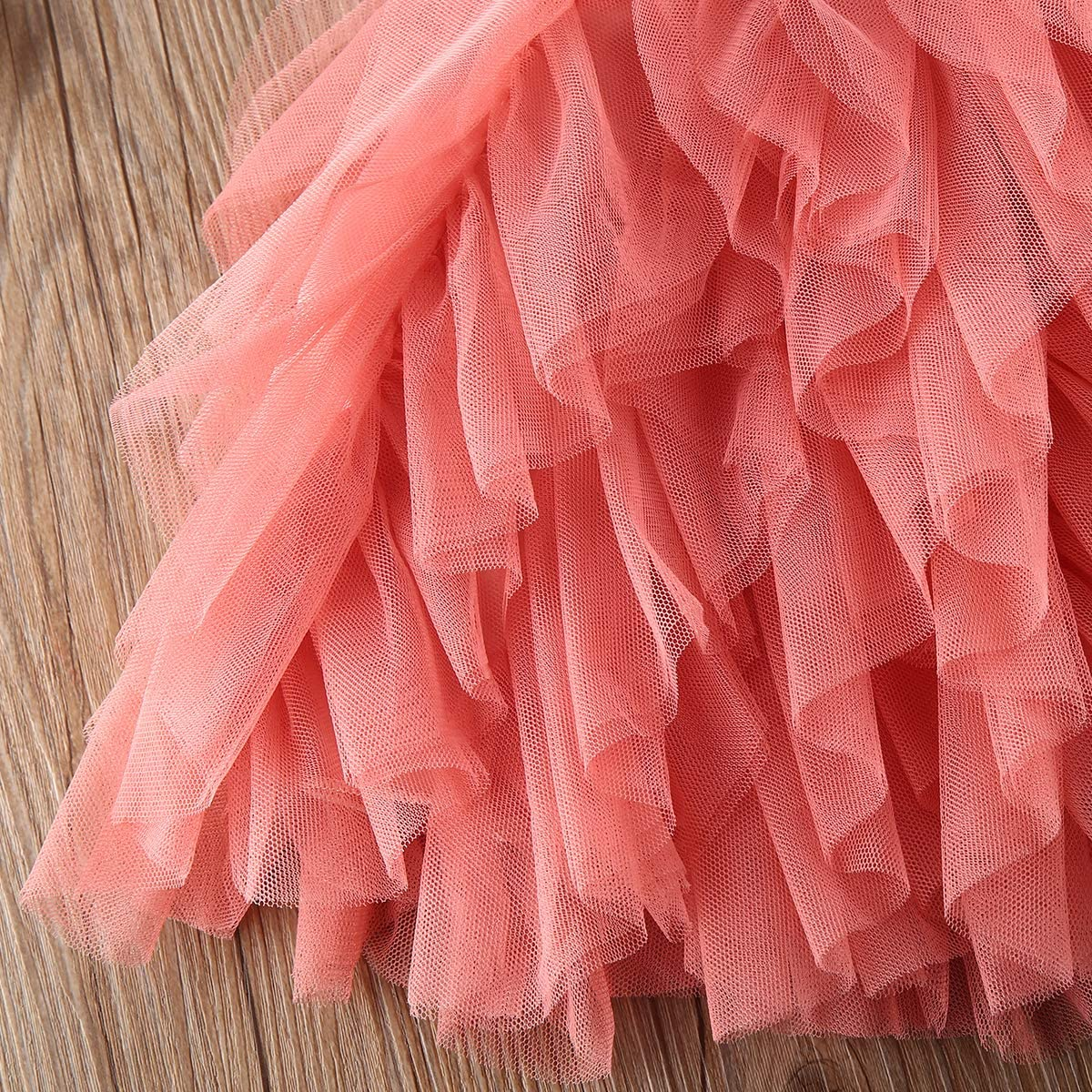 Toddler Girls Floral Lace Ruffle Hem Shirt Hollow Out Bell Sleeve Tops Mesh Tutu Skirt Infant Tulle Sundress for Party