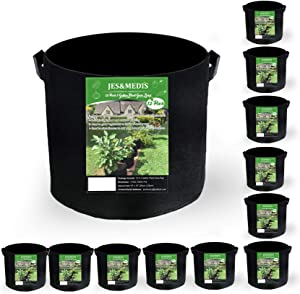 JES&MEDIS 12-Pack 3 Gallon Plant Grow Bags, Thick Aeration Non Woven Fabric Flower Vegetable Pots w/Handles Garden Container, Black