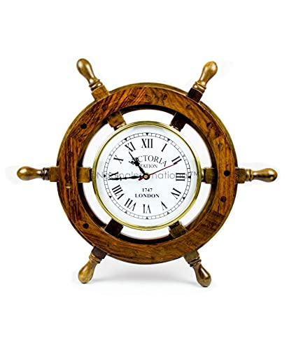 Nagina International 16 Hand Crafted Wooden Ship Wheel with 6 Wall Decor Premium Vintage Roman Dial Time s Clock Maritime Decorative Exclusive Wall Decor Clock