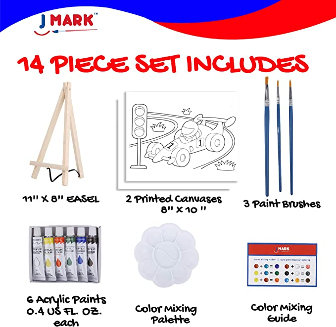 Paint Easel Kids Art Set- 14-Piece Acrylic Painting Kit with 6 Non Toxic Washable Paints 1 Wood Easel 3 Brushes 2 Pre-Stenciled Canvases 8 x 10 inches Palette and Color Mixing Chart Craft Supplies