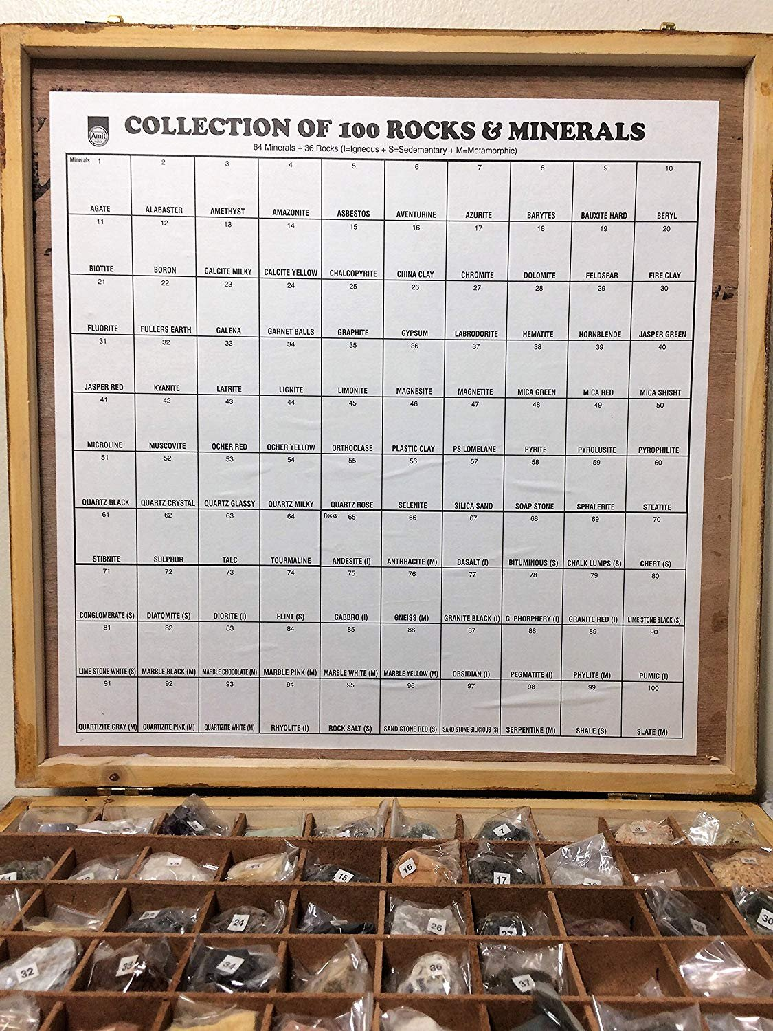Yantra 100 Rocks and Minerals Collection in Wooden Box Geology Civil Educational by Yantra (Image #2)