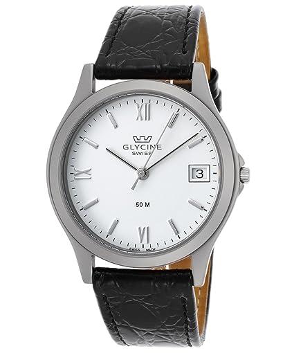 Glycine 3690 - 11rp-sb-lbk9 hombre negro piel auténtica esfera blanca reloj: Amazon.es: Relojes
