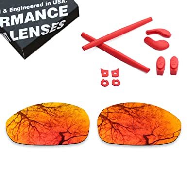 7244df924f Image Unavailable. Image not available for. Color  Polarized Lens  Replacement   Red Rubber Kits for Oakley Juliet