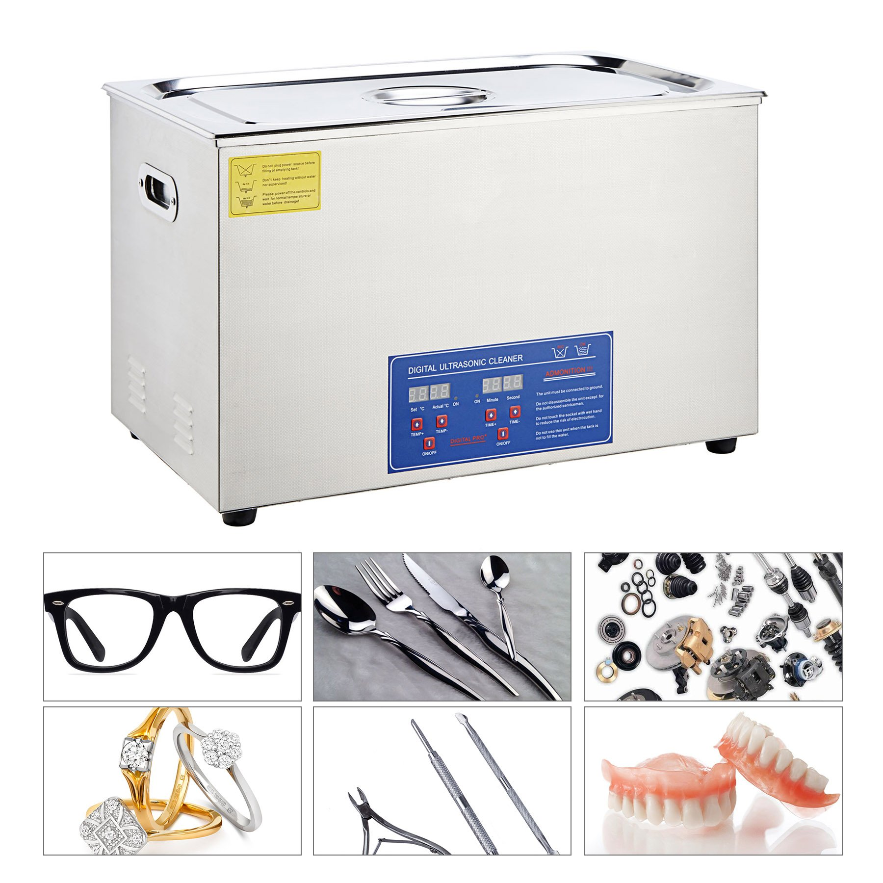 Tek Motion 30L Digital Professional Large Ultrasonic Jewelry Cleaning Machine Cleaner with Heater, Timer (1400 W, 10x60 W Transducers)
