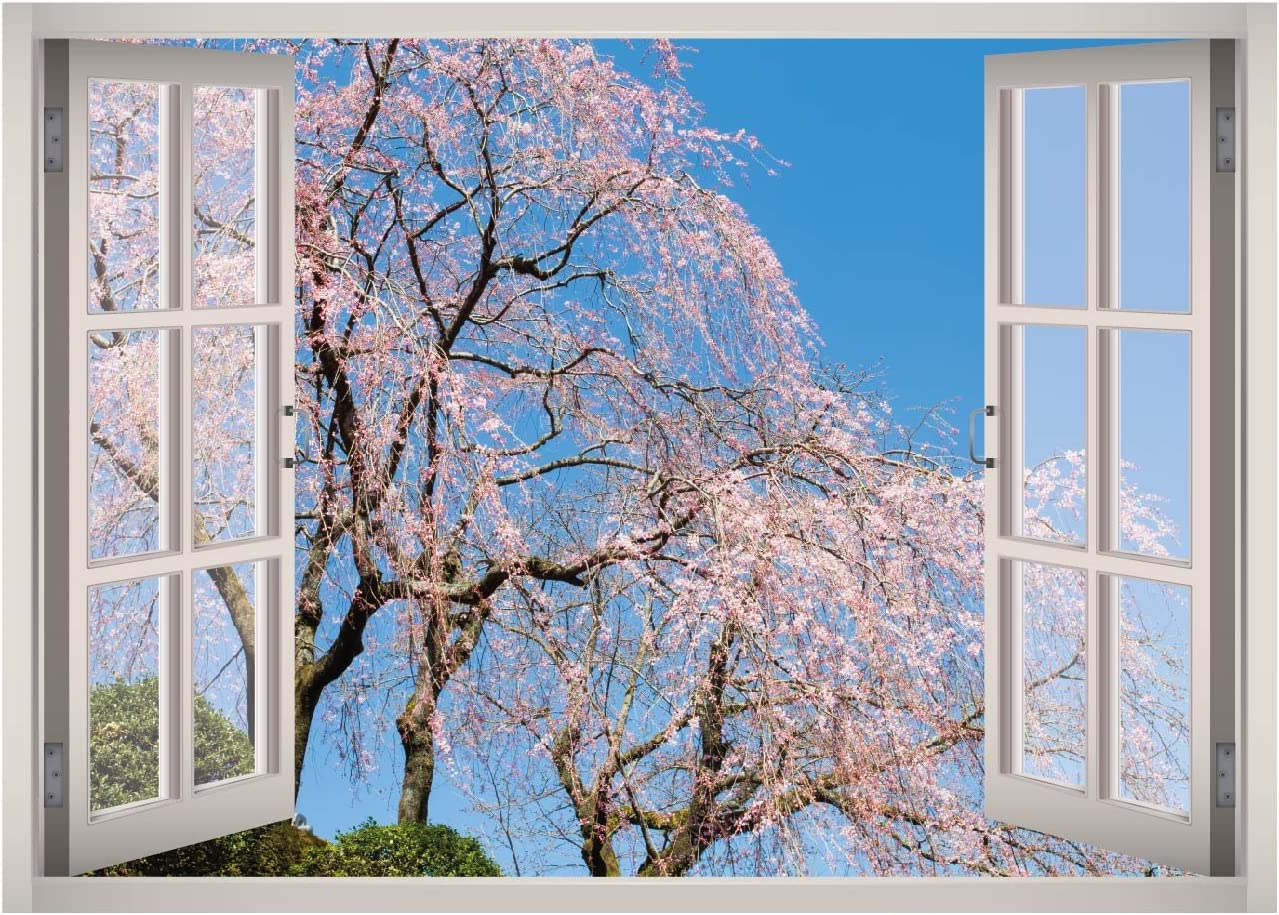Cherry Blossom View Window 3D Wall Decal Art Removable Wallpaper Mural Sticker Vinyl Home Decor West Mountain W103 (GIANT (65''W x 46''H))