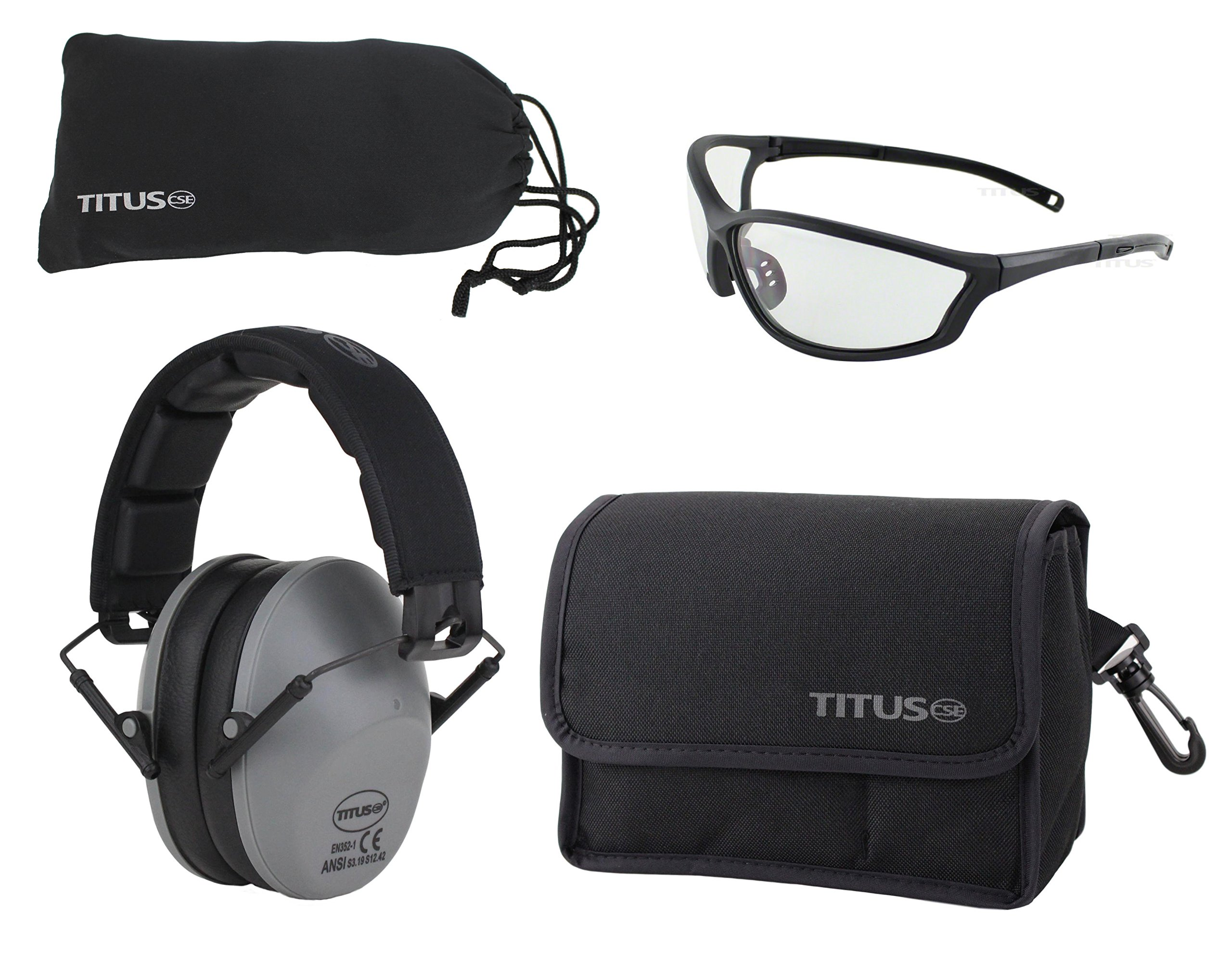 Titus TOP Slim-Line Safety Glasses and Earmuff Combos (Grey, G26 Clear w/Competition Frame) by Titus