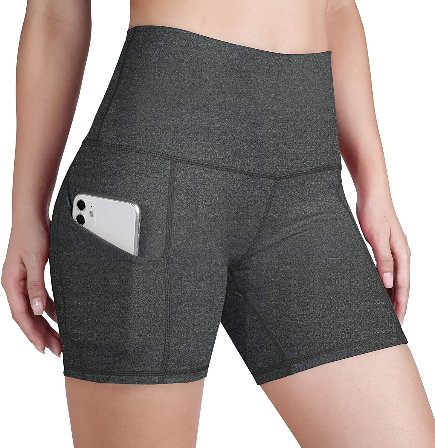 ODODOS Women's Out Pockets High Waisted Workout Shorts, Yoga Athletic Cycling Hiking Sports Shorts