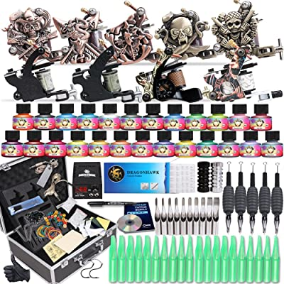 Starter Complete Tattoo Kit 9 Machine Gun Power Supply 50 Needles Ink Set D23