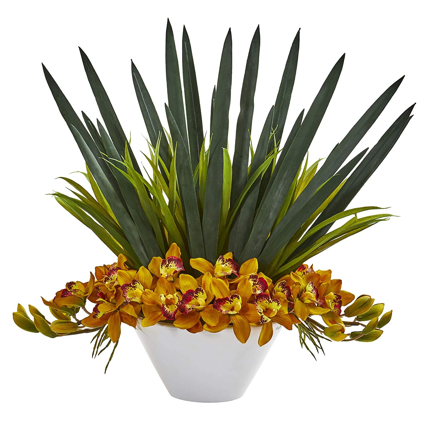 Nearly Natural 1705-YL Cymbidium Orchid Artificial White Bowl Silk Arrangements Yellow