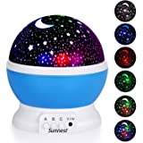 Sunnest Star Projector, Night Lights for Kids, Rotating Baby Night Lighting Lamps, 4 LED Bulbs 8 Modes with 3.2FT USB Cord for Baby/ Children/ Kids