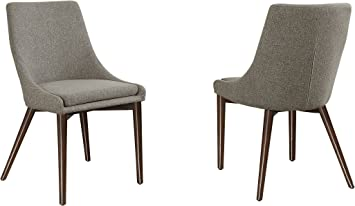 Amazon Com Homelegance Fabric Accent Side Chair Grey Set Of 2 Chairs