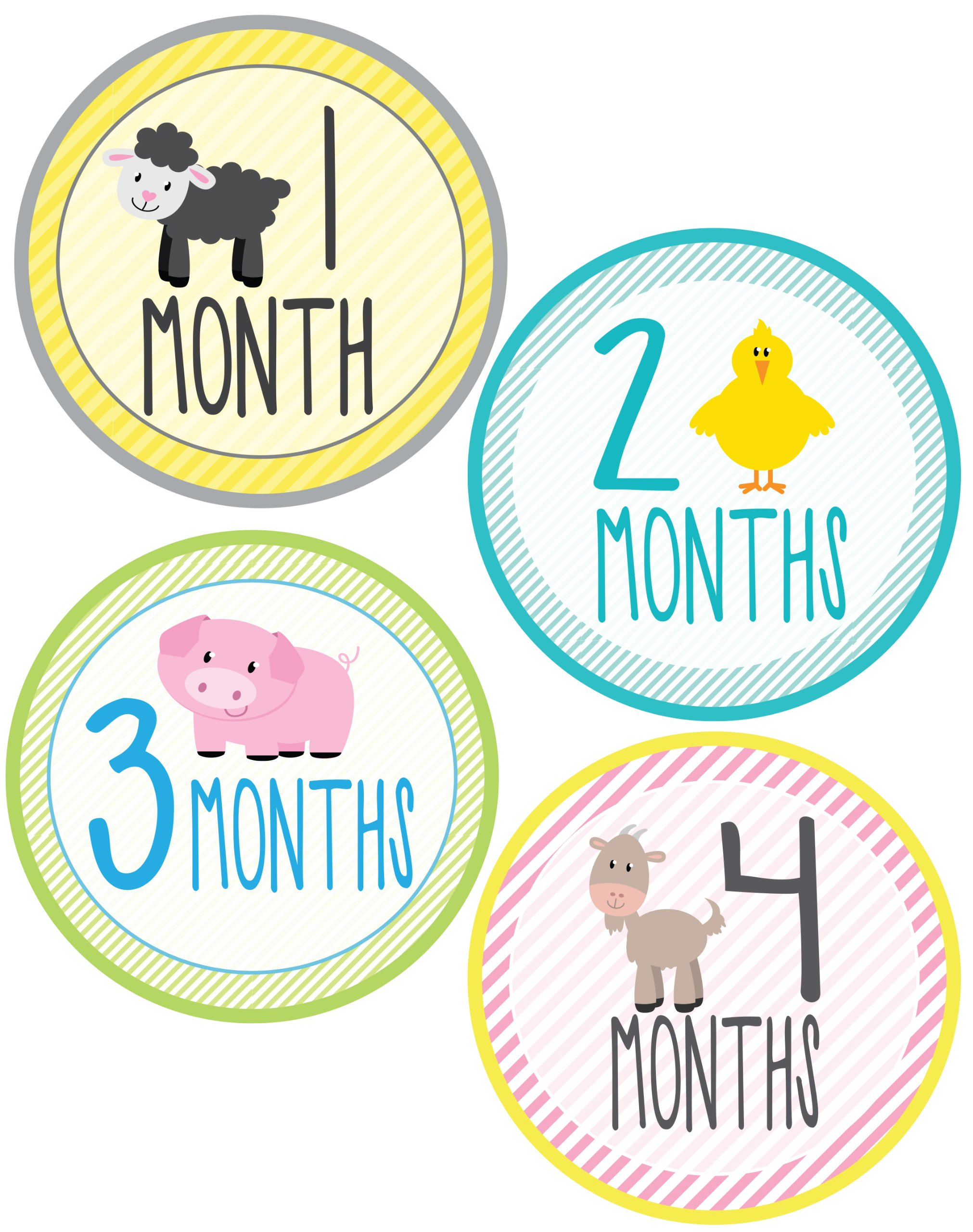 Farm Animal Monthly Onesie - Waterproof and Durable - Includes 1-12 Month Stickers