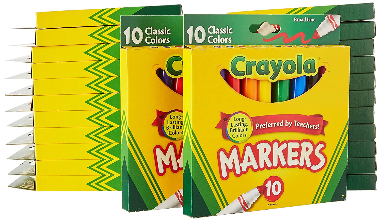 Count Crayola 758114552570 Broad Line Markers Classic Colors 10 Each Case of 24 Pack of 24