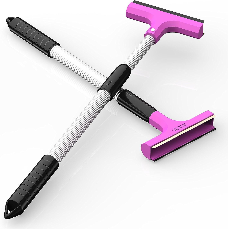 raclette de caoutchouc outil d/égla/çage AUPROTEC Grattoir /à Glace t/élescopique avec racloir en laiton r/églable en continu gratte-givre pare brise couleur rose