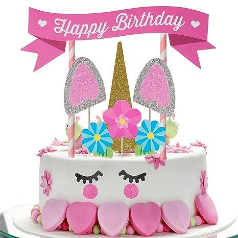 ZeWoo Torta di Unicorno, Decorazioni Unicorno Compleanno di Unicorno Per La  Festa Di Compleanno Torta