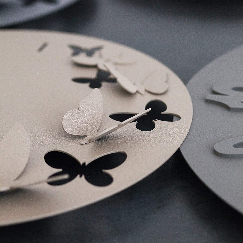 ARTI E MESTIERI Diam 40 cm Orologio Farfalle Butterfly Spring Metallo Colore Beige