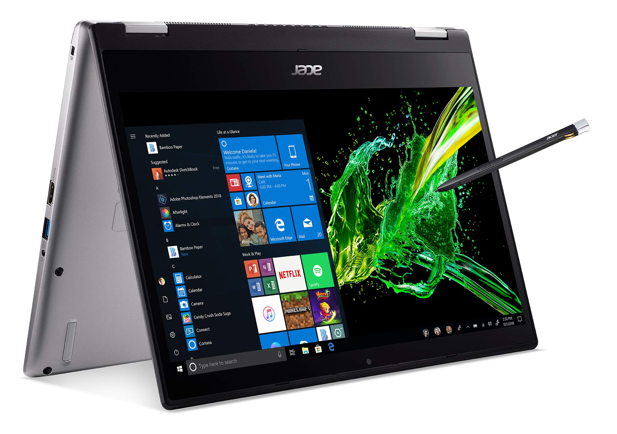 Acer Spin 3 Convertible Laptop, 14'' Full HD IPS Touch, 8th Gen Intel Core i7-8565U, 16GB DDR4, 512GB PCIe NVMe SSD, Backlit KB, Fingerprint Reader, Rechargeable Active Stylus, SP314-53N-77AJ by Acer