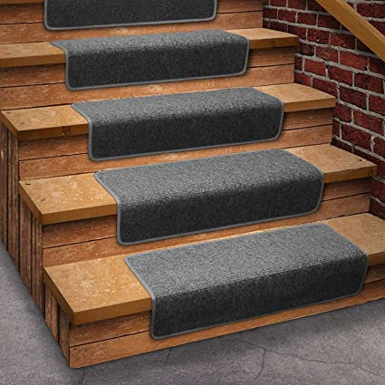 House, Home And More 13 Attachable Basement Step Carpet Stair Treads   Gray