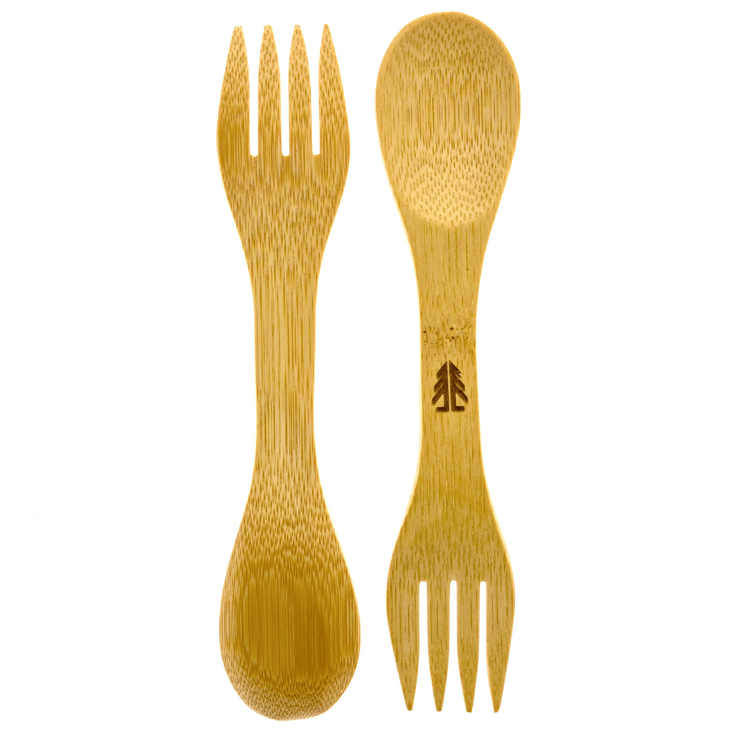Bamboo Sporks - Pack of 4 - Simply 100% Bamboo Eating Utensils by Forestry Labs