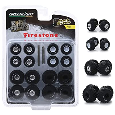 Greenlight 16010A Wheel and Tire Pack - Kings of Crunch Firestone 1:64: Toys & Games