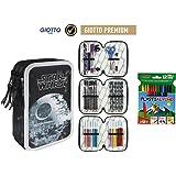 Plumier Estuche Premium de Cremallera Triple 3 Pisos Star Wars 43 Piezas Contenido Giotto + Regalo 12 Ceras Alpino Plastialpino