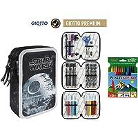 Plumier Estuche Premium de Cremallera Triple 3 Pisos Star Wars 43 Piezas Contenido Giotto + Regalo