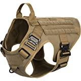ICEFANG Tactical Dog Harness with 4X Metal Buckle,Dog MOLLE Vest with Handle,No Pulling Front Clip,Hook and Loop Panel for Do