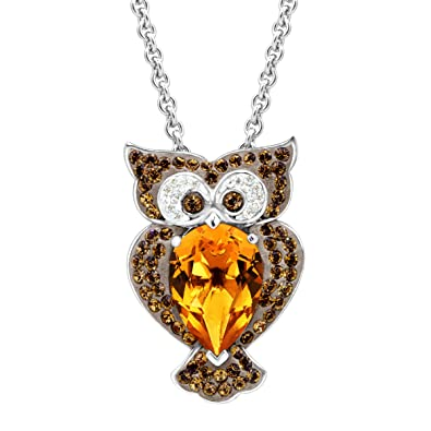 ce8170c9c6f2a Crystaluxe Owl Pendant Necklace with Brown Swarovski Crystals in Sterling  Silver, 18