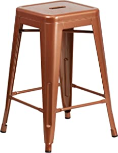 "Flash Furniture Commercial Grade 24"" High Backless Copper Indoor-Outdoor Counter Height Stool"