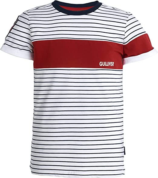 GULLIVER - Camiseta para niño (manga corta, tallas 8-13 años), diseño de rayas, color azul y blanco: Amazon.es: Ropa y accesorios