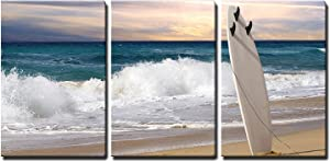 """wall26-3 Piece Canvas Wall Art - Surfboard on Fuerteventura Beach - Modern Home Art Stretched and Framed Ready to Hang - 16""""x24""""x3 Panels"""