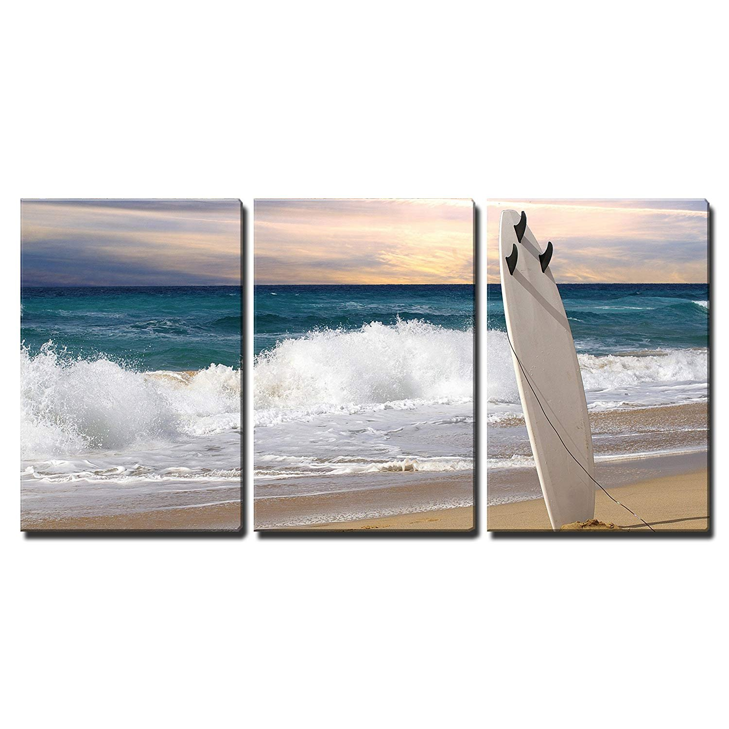 wall26-3 Piece Canvas Wall Art - Surfboard on Fuerteventura Beach - Modern Home Decor Stretched and Framed Ready to Hang - 24''x36''x3 Panels